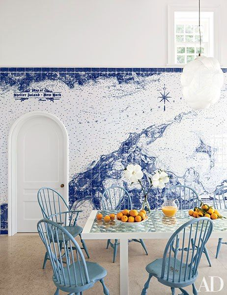 Breakfast nook by Russel Piccione with blue and white map tile via AD