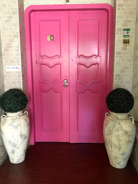 Loely pink front door in Manila