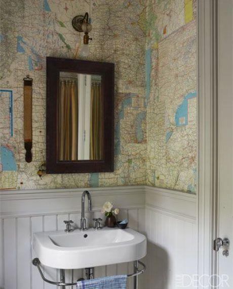 map in poweder room via Elle Deocr