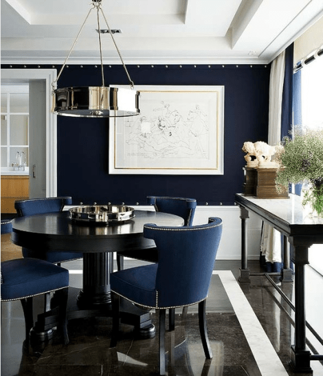 Navy and white dining toom