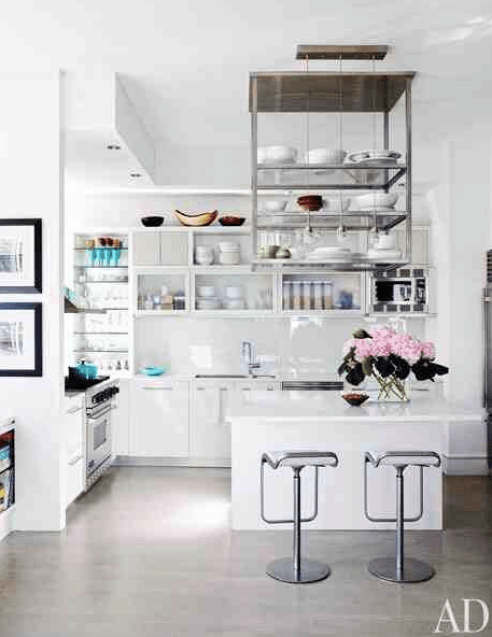 white kitchen with clean lines via AD
