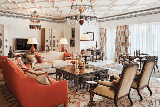Fabulous autumn hints of orange in this large living room via AD