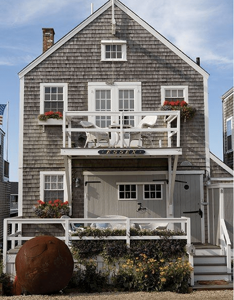 Catch the shingles the potted boxwood for Nantucket shingles
