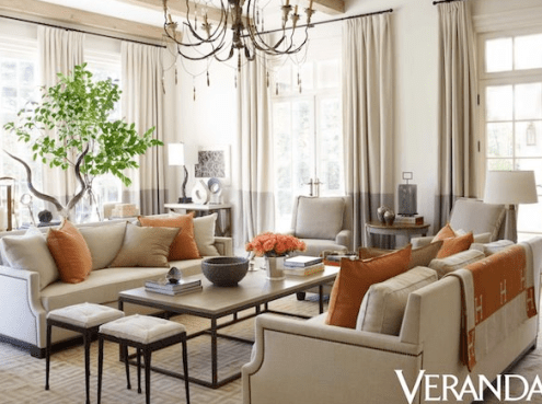 Suzanne Kassler hints at sophisticated shades of tangerine at this fabulous home via Veranda