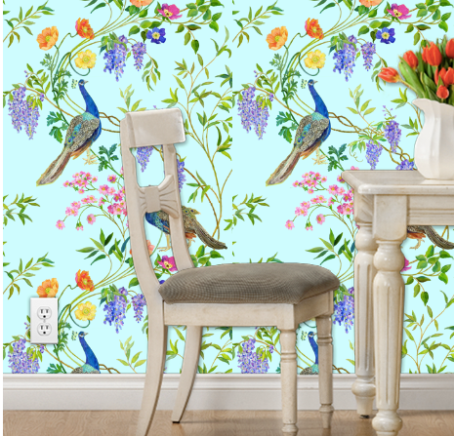 Spoonflower peel and stick wallpaper in Chinoiserie