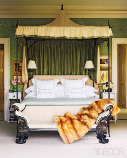 Miles Redd Fur thorw on bed via Elle Decor