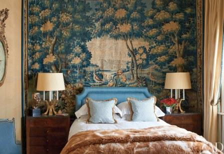 Paolo Maschino and Philip Vergeylen Bedroom with fur throw via AD