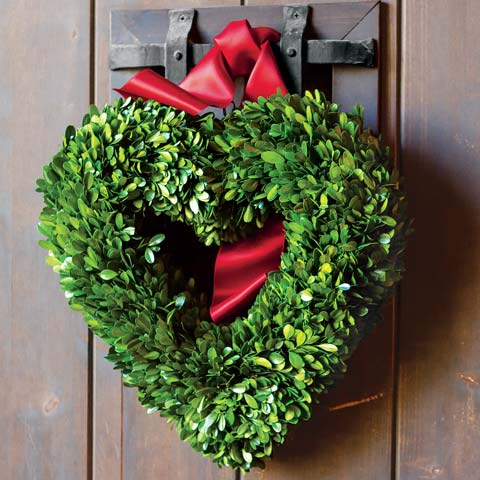Olive and Cocoa Heart Boxwood Wreath