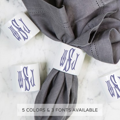 Monogram Napkin Rings by Sasha Nichols