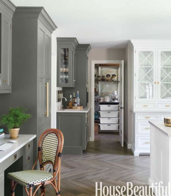 gray and white cabinets in kitchen via house beautiful