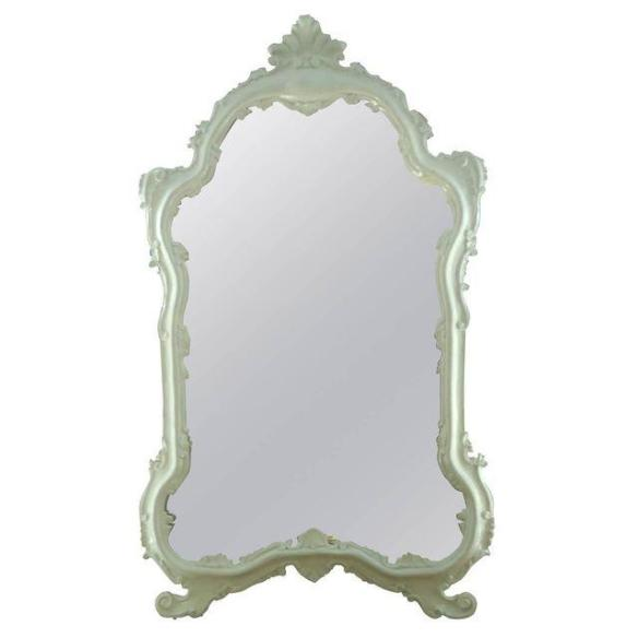 Glossy White Laquered Venetian Style Mirror from Chairish
