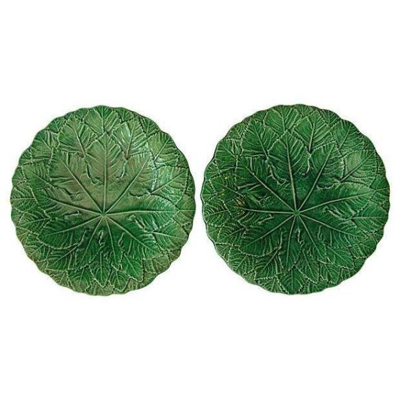 Antique English Majolica Leaf Plates from Chairish