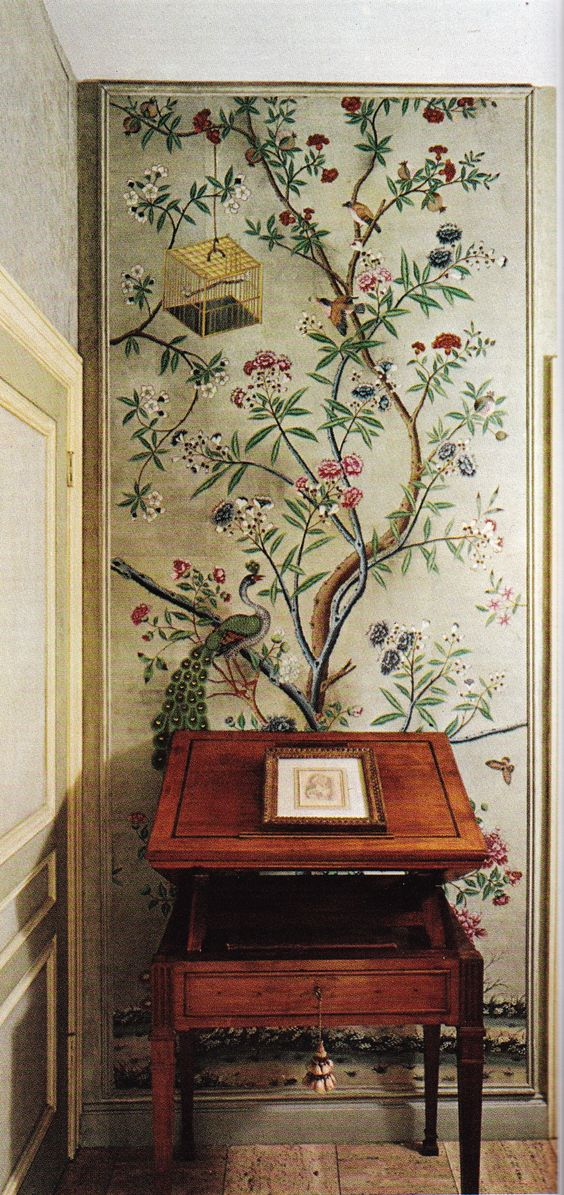 Chinoiserie panel by Anthony Hall via AD May June 1972 via the art of the room