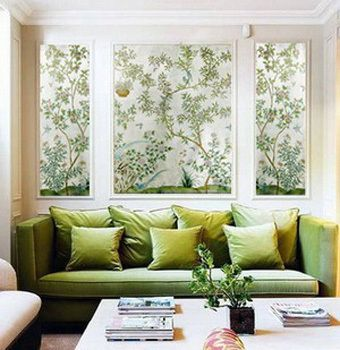 fabulous framed shades of green wallpaper via Apartment Therapy