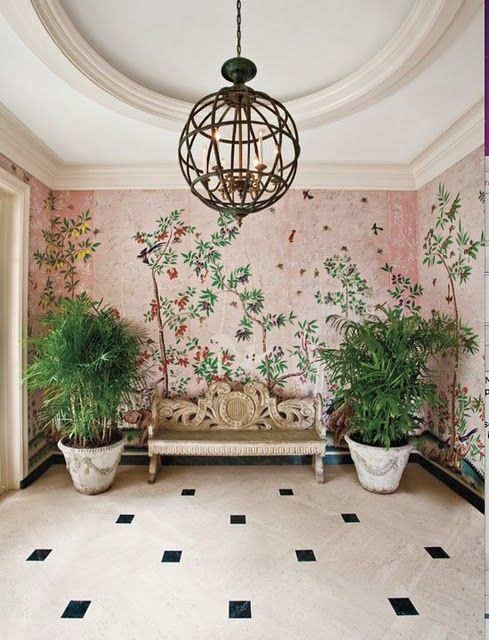 pink degournay wallpaper in entry