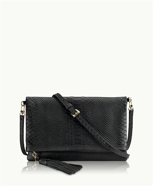 Python Black Clutch from Gigi New York