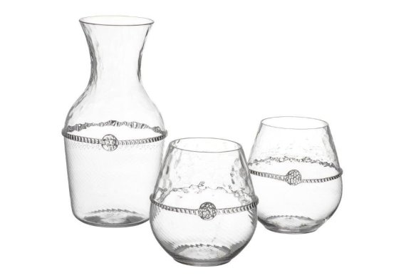 Juliska Carafe and wine glasses