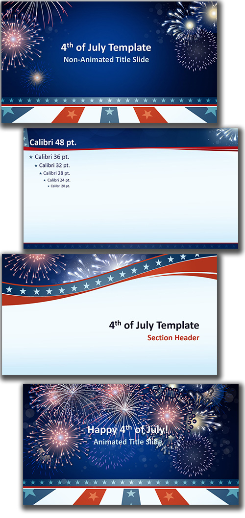 Free PowerPoint template, 4th of July theme - 4th of july template