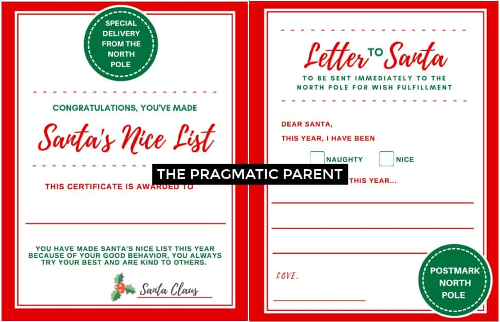 Letter to Santa  Certificate for Making Santa\u0027s Nice List