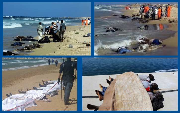 Migrants morts en Méditerranée.