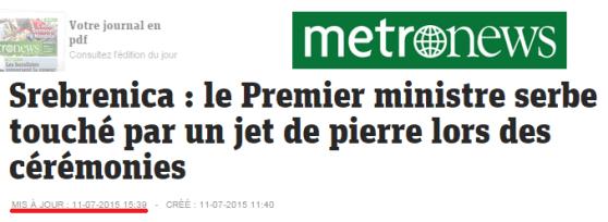 Metronews sur Srebrenica.