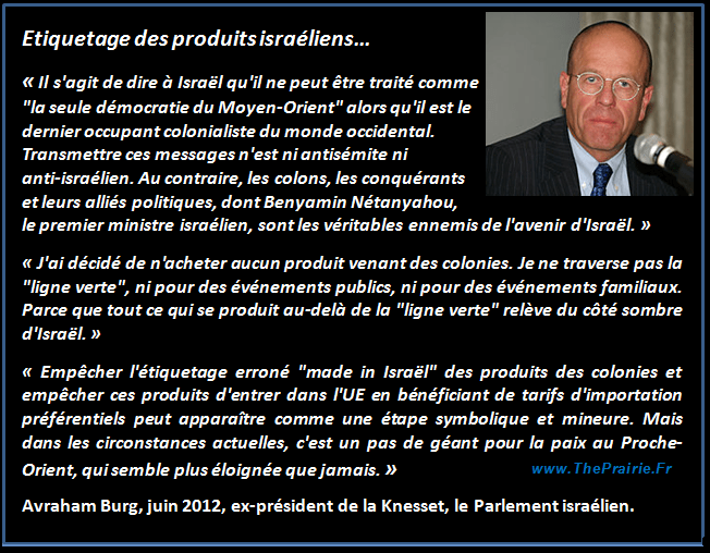 Avraham Burg et l'étiquetage des produits israéliens !