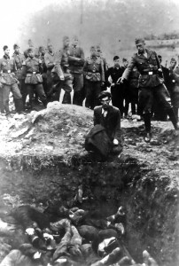 The execution of the last Jew in Vinnytsia, made by an officer of the German Einsatzgruppen