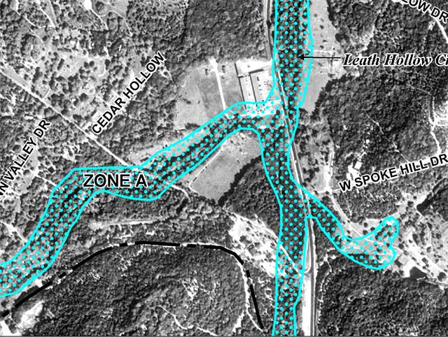 Map of the flood plain in an area near Wimberley, TX as see from the FEMA maps.