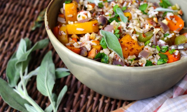 Wild Rice Stuffing with Butternut Squash, Red Onion, and Almonds