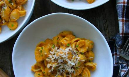 Pasta with Creamy Pumpkin Sauce and Toasted Hazelnuts