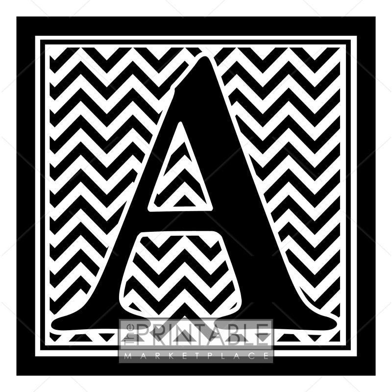 Black Chevron Monogram A