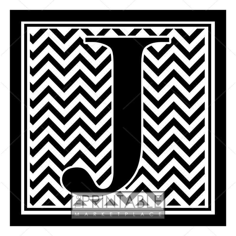 Black Chevron Monogram J