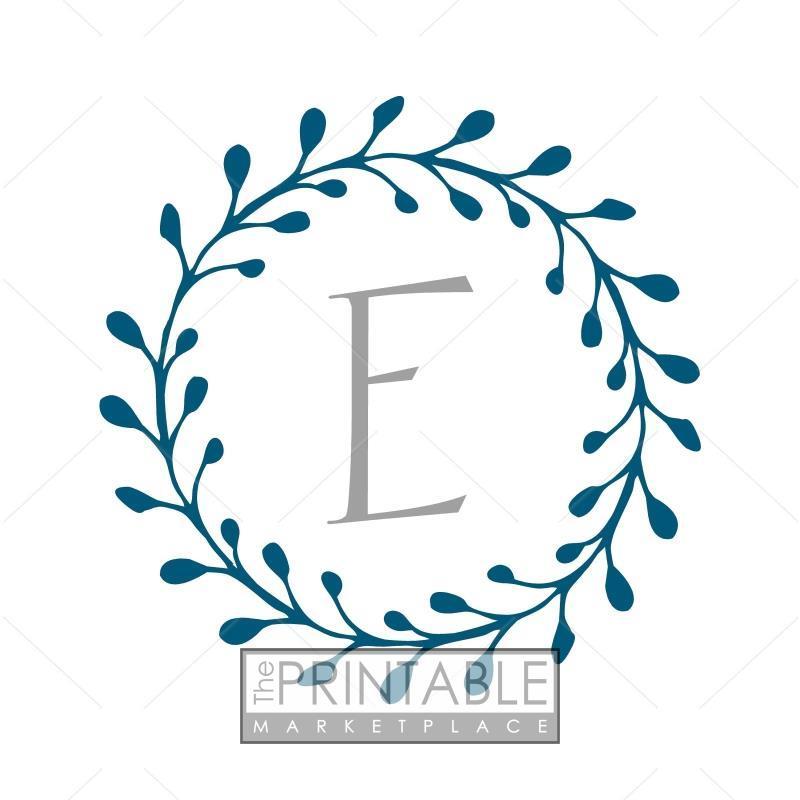 E Wreath Blue