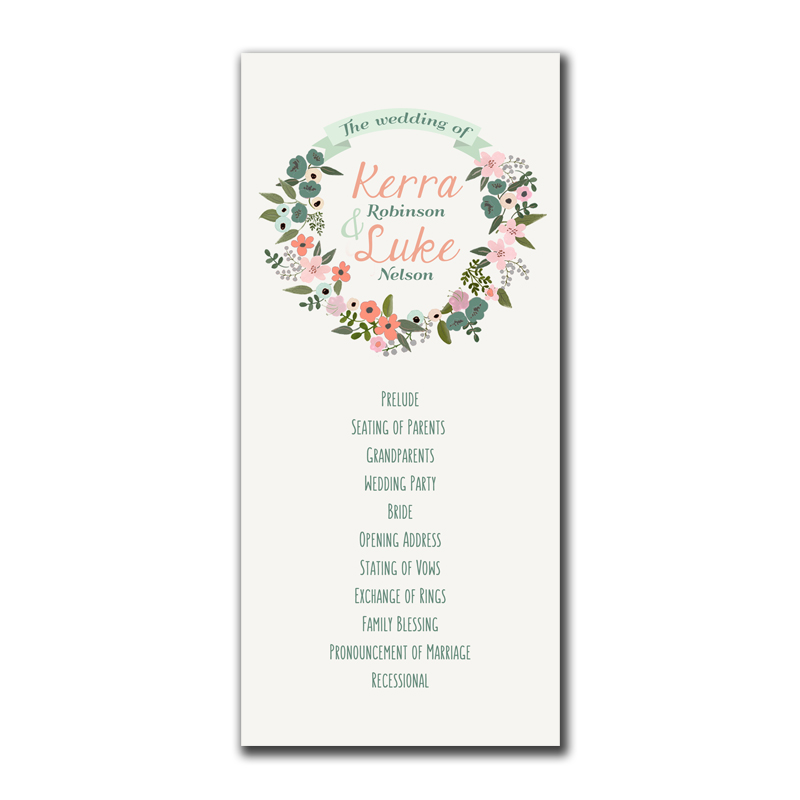 Floral Wreath Rustic Wedding Program - The Print Cafe