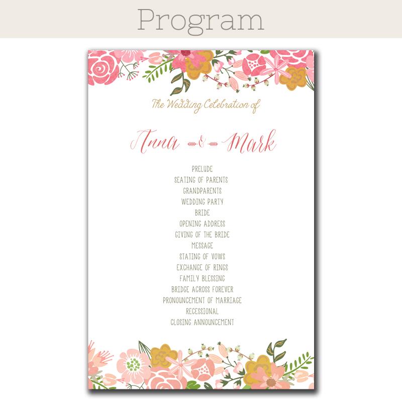 Floral Border Wedding Program - The Print Cafe