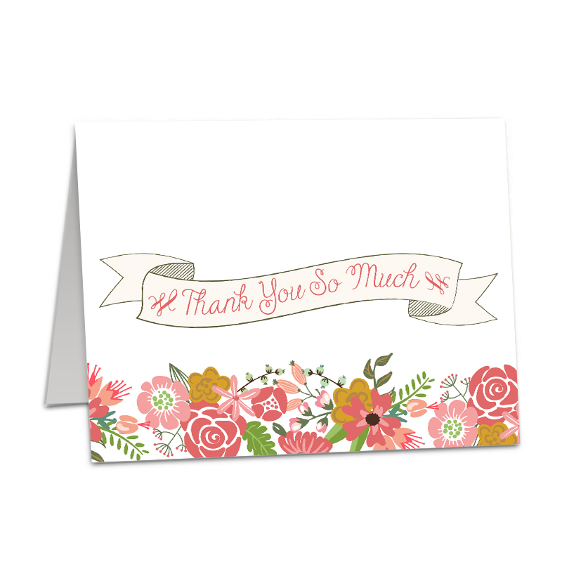 Floral Border Thank You folded card - The Print Cafe