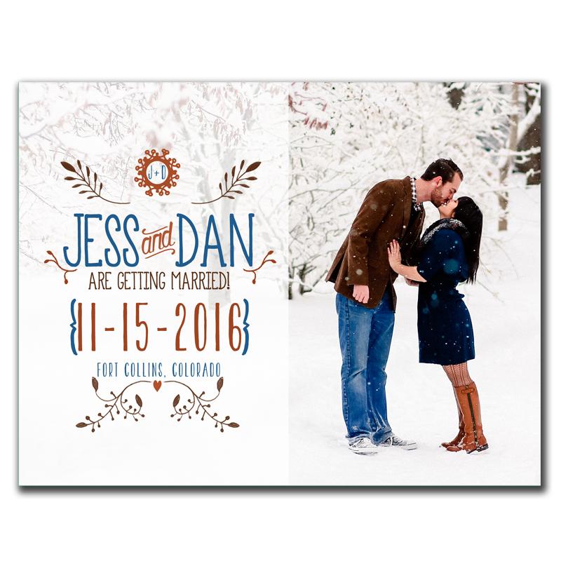 Ornate Monogram Save-The-Date postcard - The Print Cafe - save date postcard