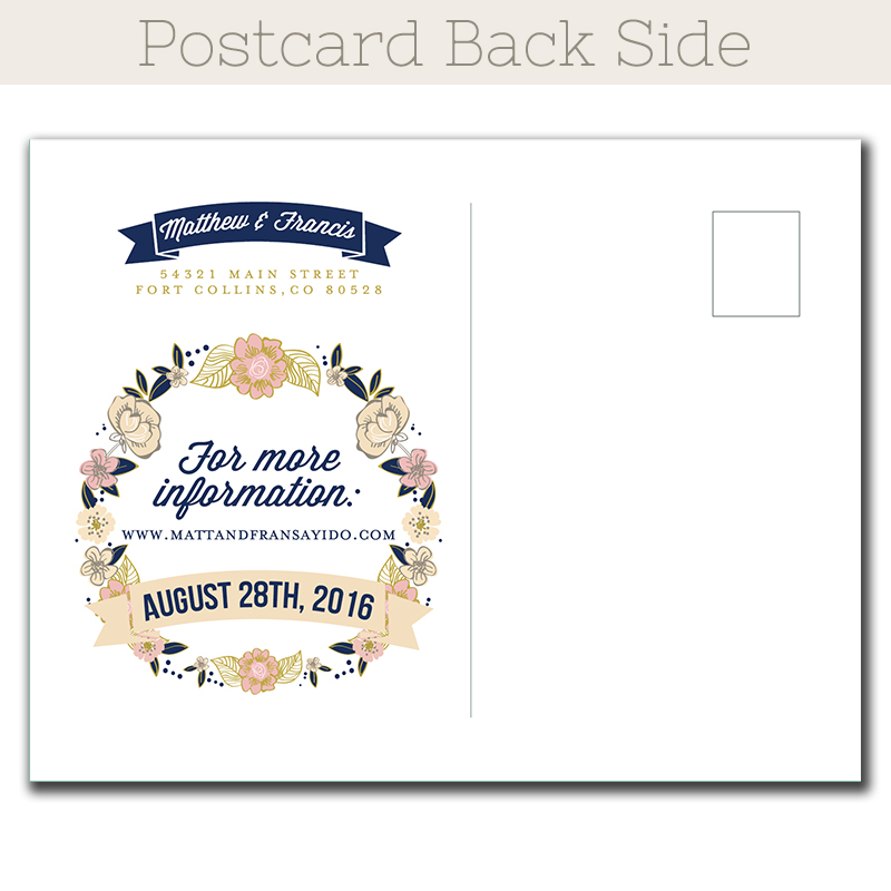 Wedding Bouquet Save-The-Date postcard - The Print Cafe - save date postcard