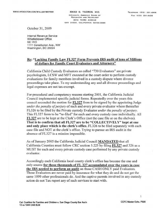 Complaint to Internal Revenue Service IRS\u2013Title 5, CRC 5225, fl-327