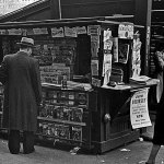 """Another subway newsstand in New York displays a bounty of pulps, including the Dec. 1, 1939, number of """"The Shadow,"""" and the December numbers of """"Weird Tales,"""" """"The Avenger,"""" """"Thrilling Detective,"""" """"Western Trails"""" and more."""