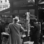 A variety of pulps from late 1939 are on sale at this newsstand at a subway ramp in New York City.