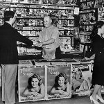 This newsstand in Camden, N.J., displays a variety of pulp magazines from spring 1940.