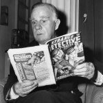 """Actor Henry Travers poses with the September 1942 number of """"Strange Detective Mysteries"""" in this publicity photo for Alfred Hitchcock's """"Shadow of a Doubt."""""""