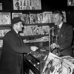 """The only obvious pulp magazine for sale by this British newsagent is a British version of """"Short Stories"""" (dated August 1951). The photo is from February 1952, based on the """"Picture Post"""" cover in the lower part of the image."""