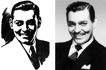"Clark Savage Jr. (left), as he appeared in ""The Land of Terror""; Clark Gable, as he appeared in a contemporaneous publicity photo"