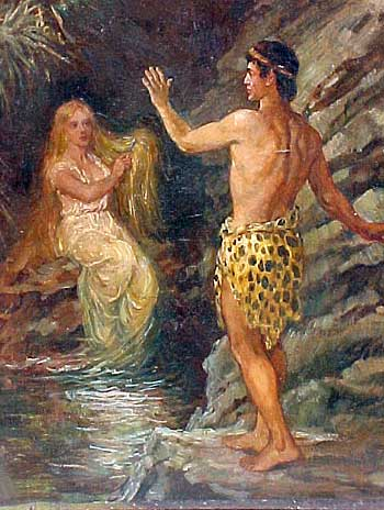 A painting purchased at an antique store. Is it Tarzan and Jane, or something else?