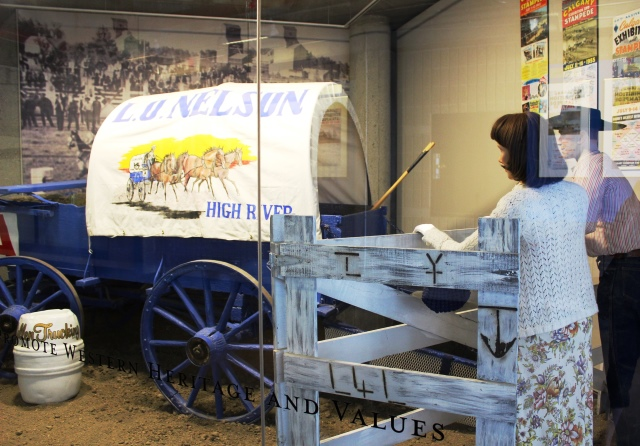 Covered Wagon exhibit in BMO Centre Calgary Stampede Park - image zoe dawes