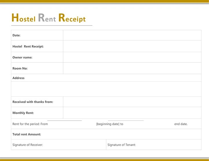 Free Hostel Rent Receipt Template