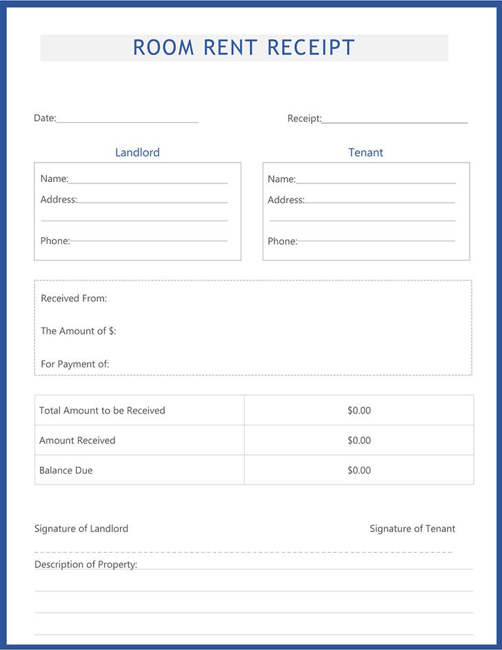 Free Rent Receipt Letter
