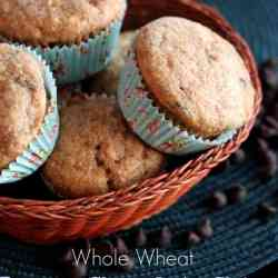 My Favourite {Whole Wheat} Banana Chocolate Chip Muffins